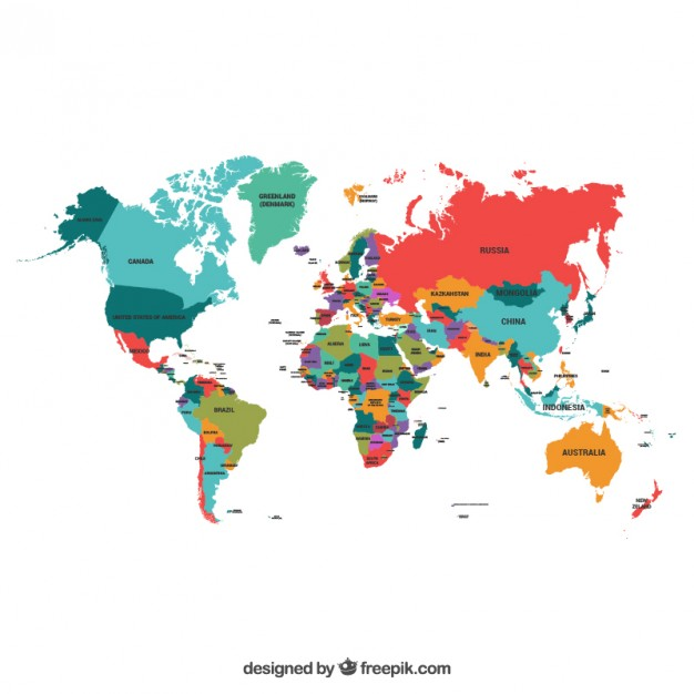 All Countries World Map Vector