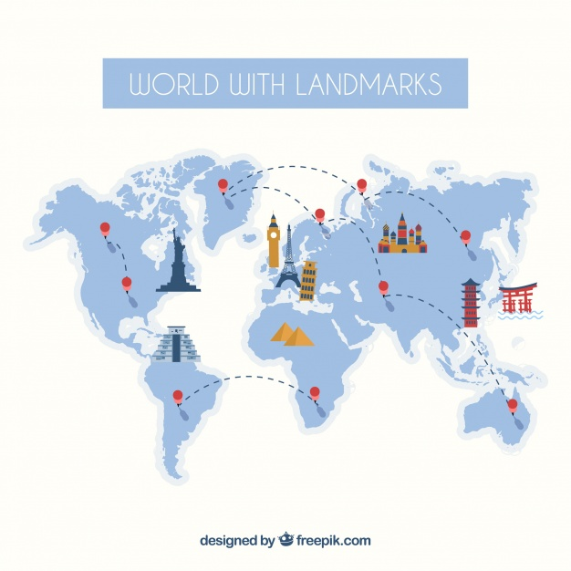 World Map Vector with Landmarks