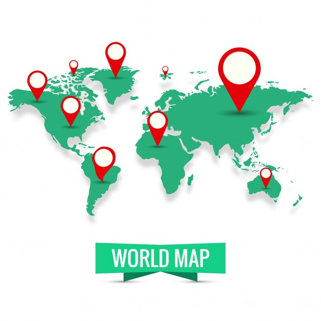 World Map Vector with pins