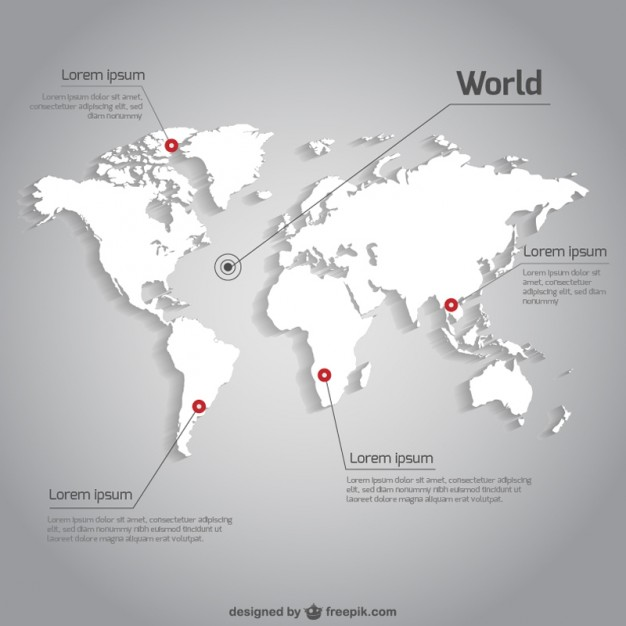 World Map Vector With Pointer Lines And Texts