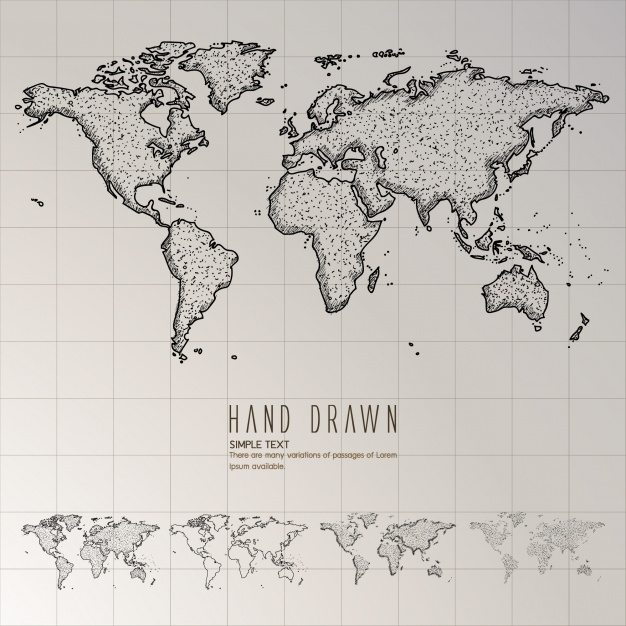 World Map Vector hand drawn