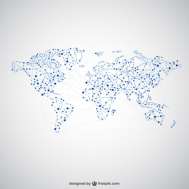 Free world map vector collection 55 different designs graphicmama world map vector with dots and connections gumiabroncs Image collections