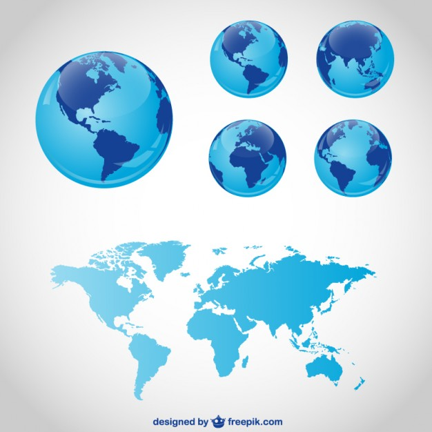 3D World Map and globe Vector