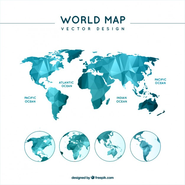 Free world map vector collection 55 different designs graphicmama low poly world map vector gumiabroncs Gallery
