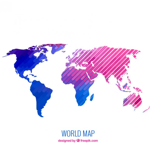 Free world map vector collection 55 different designs graphicmama world map vector with gradients and geometric shapes gumiabroncs Gallery