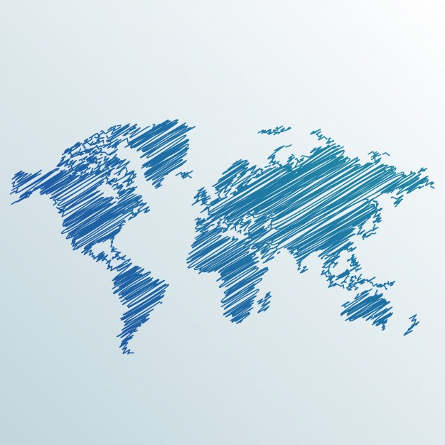 Scribbled World Map Vector made of Pen Drawing