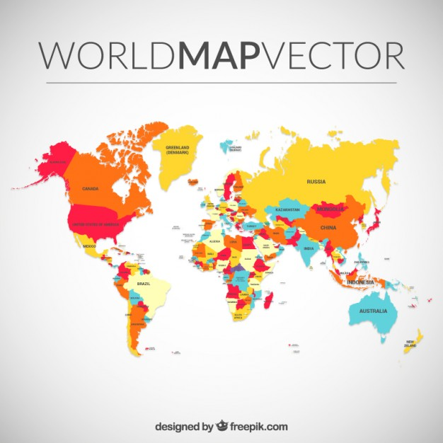 Free world map vector collection 55 different designs graphicmama world map vector with colorful countries gumiabroncs Images