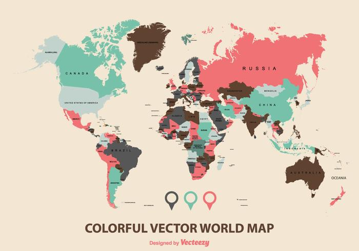 Free world map vector collection 55 different designs graphicmama geographic world map vector in colorful flat style gumiabroncs Images
