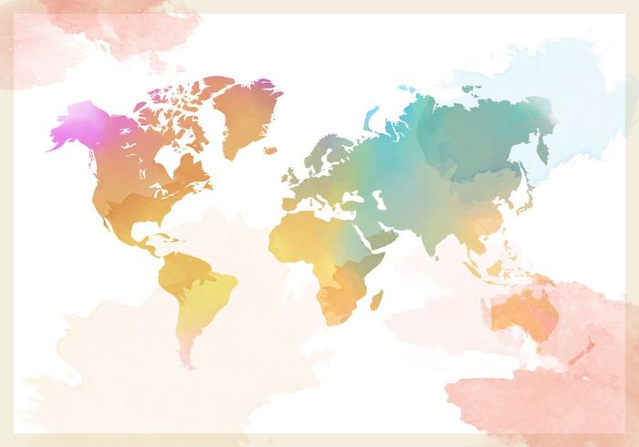 Watercolor World Map Vector Background