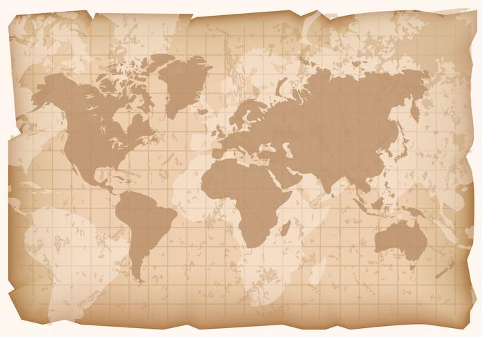 Retro World Map Vector on old paper