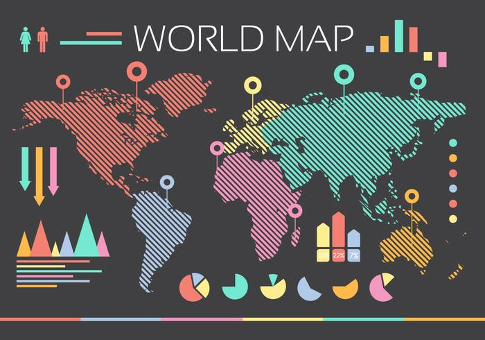 Flat World Map Vector with pie charts pins arrows bars