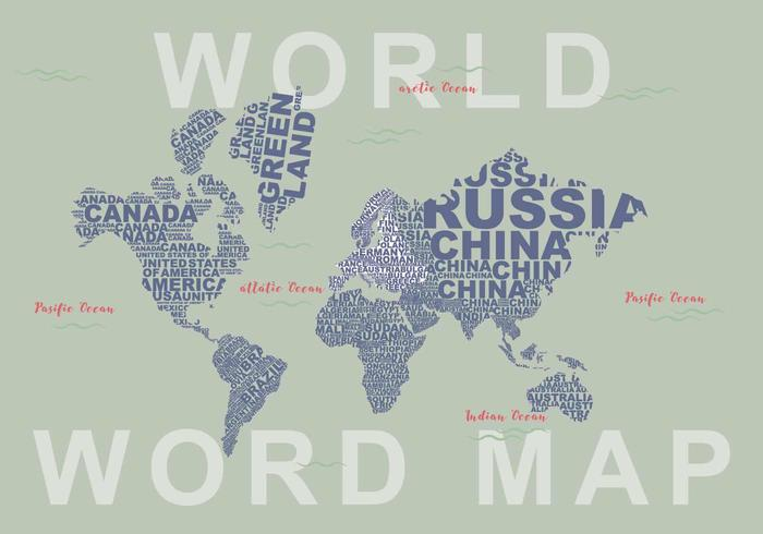 Free world map vector collection 55 different designs graphicmama world map vector made of countries names gumiabroncs Gallery