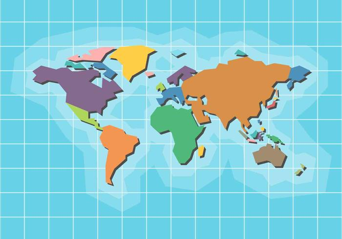 World Map Vector with coоrdinate system