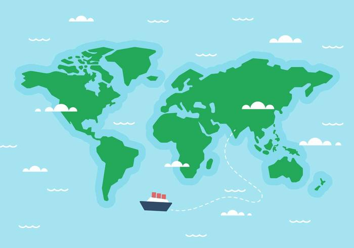 World Map Vector with clouds, ships, waves