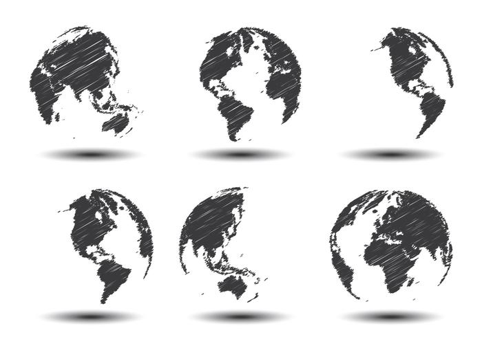 World Globe Vector scribble effect