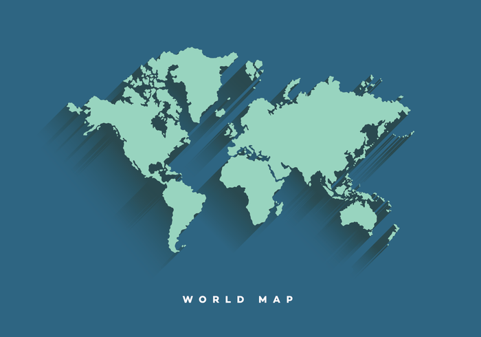 Flat World Map Vector with long shadow