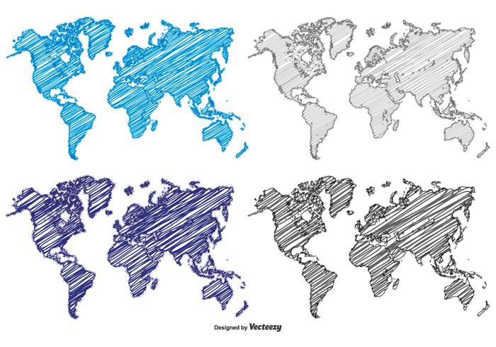 World Map Continents Vector Hand Drawn