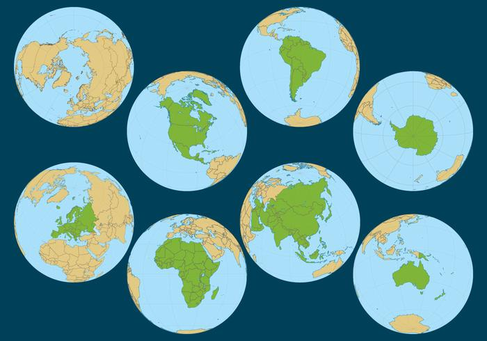 Flat World Globe Vector in different perspectives