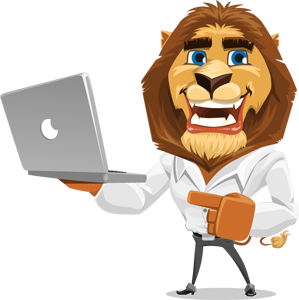 animated explainer videos lion character with laptop