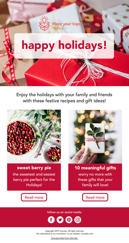 free responsive email template: Holiday Christmas