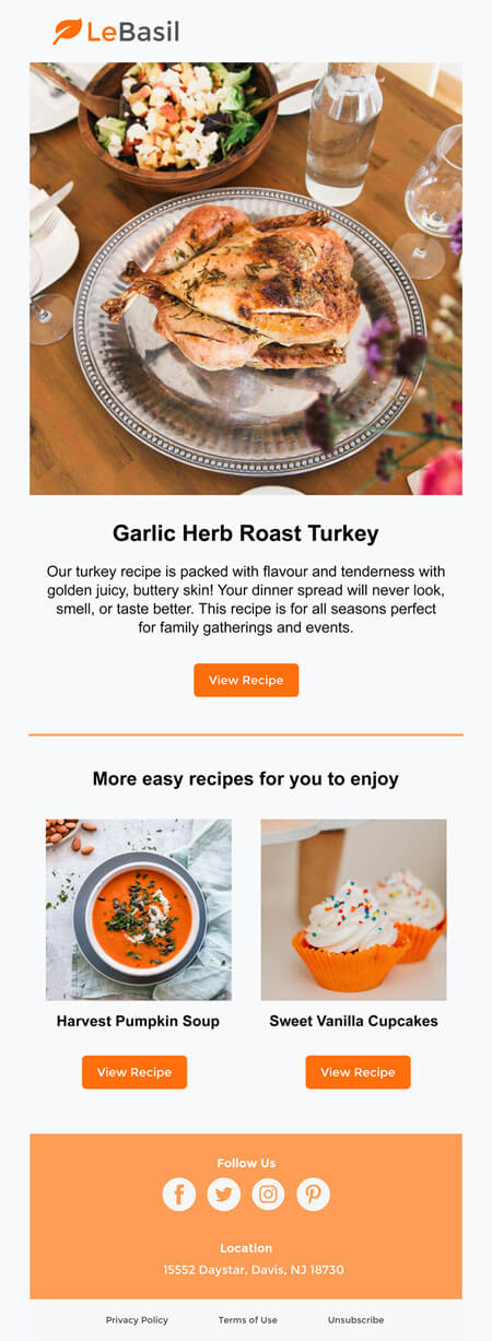 responsive email template: Holiday Thanksgiving