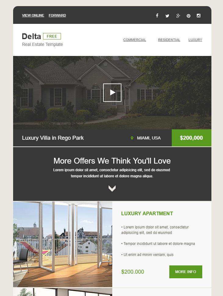 real estate free html email template
