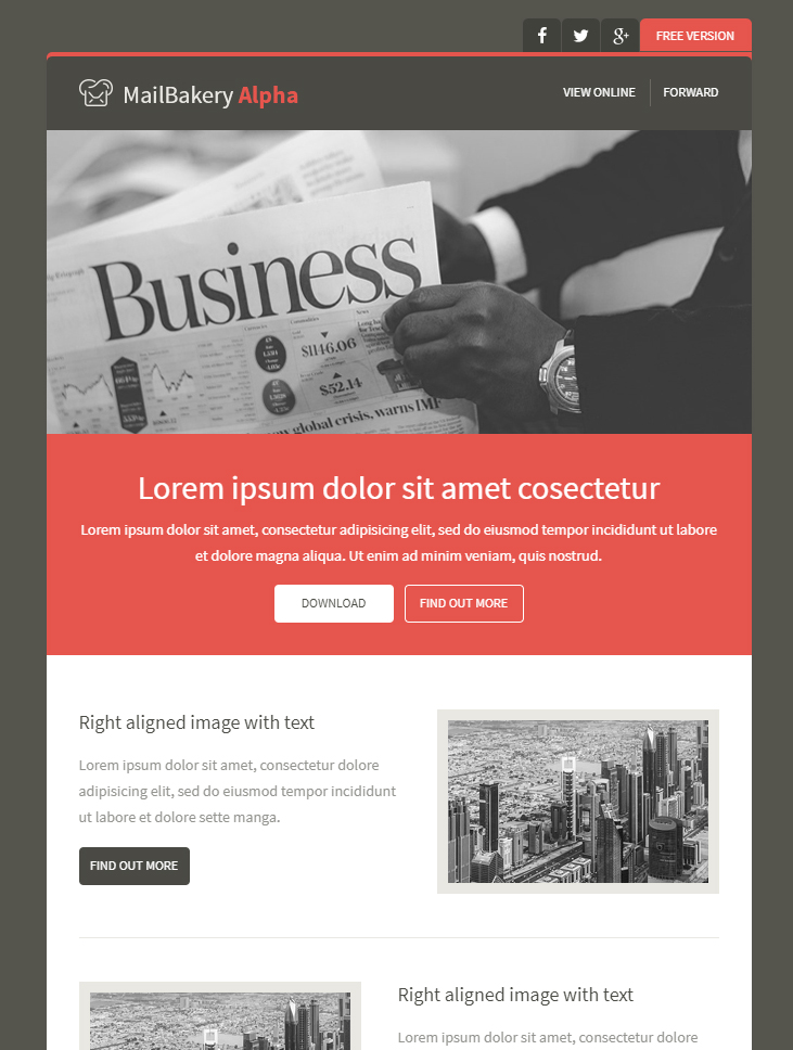 free email newsletter template MailBakery Alpha