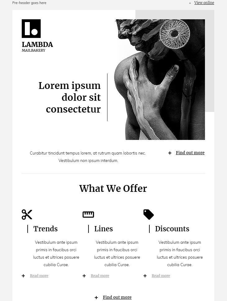 minimalist style free html email newsletter template