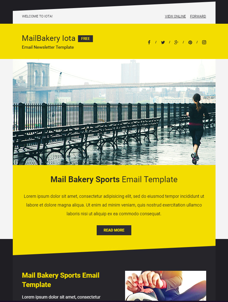 Bright Yellow Email Template Free