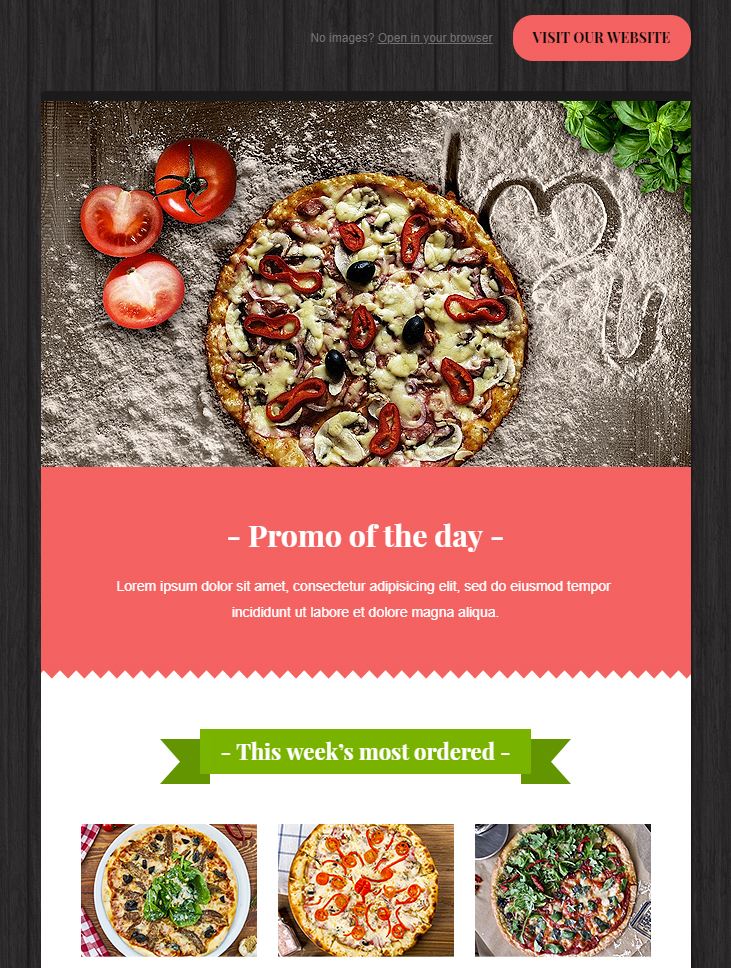 pizza free html email template