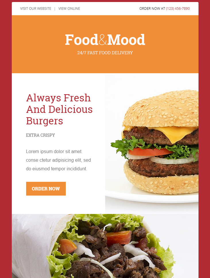 food and mood free html email template