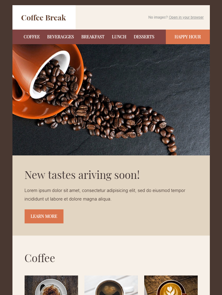 coffee break free html email template