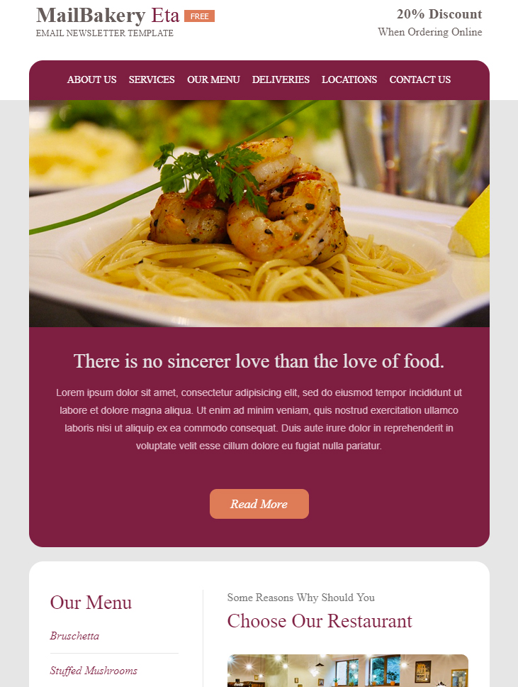 restaurant email template free download