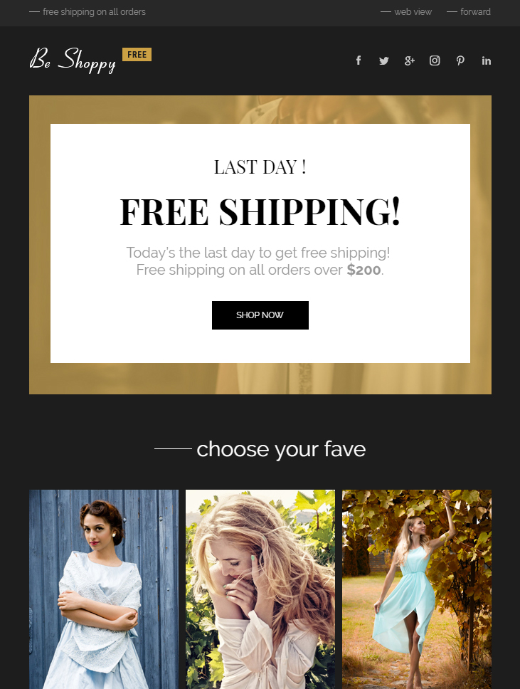 free ecommerce html email template