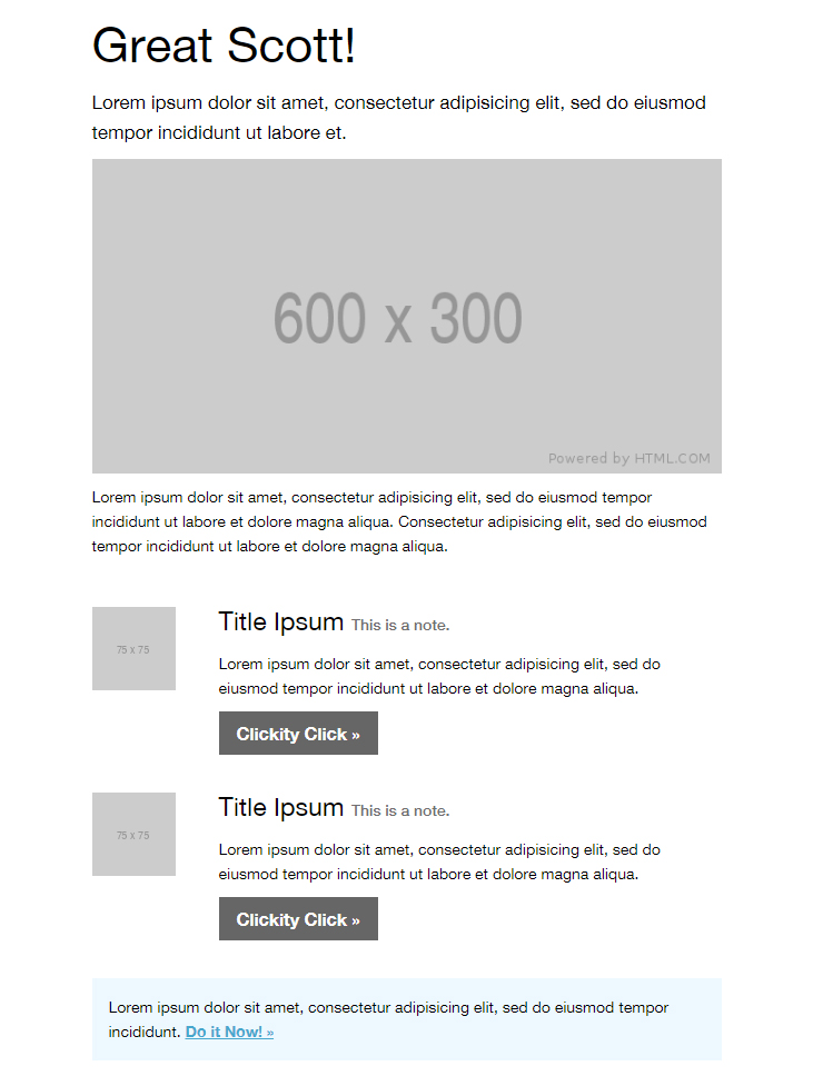 free basic HTML email template newsletter
