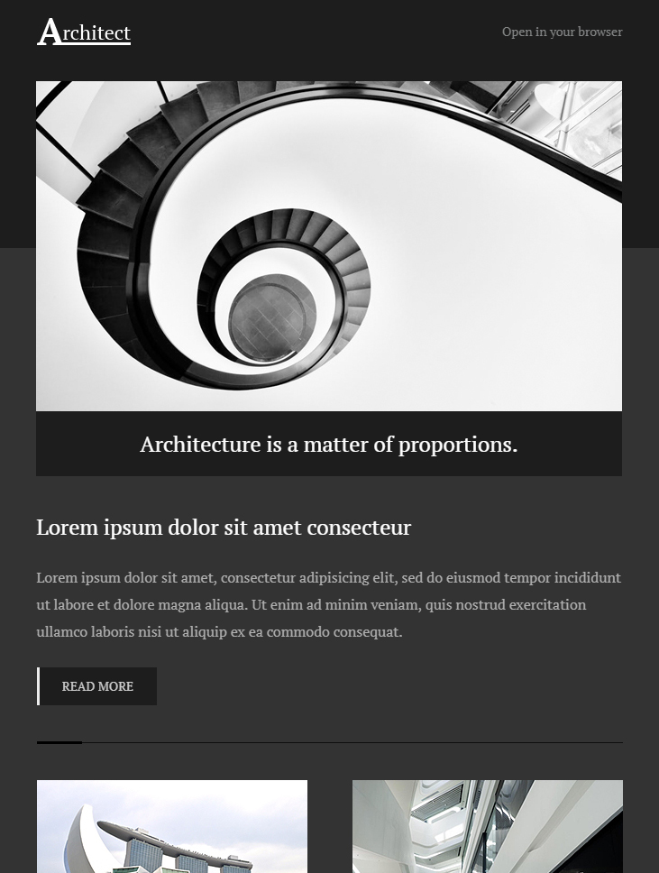 architect free newsletter email template