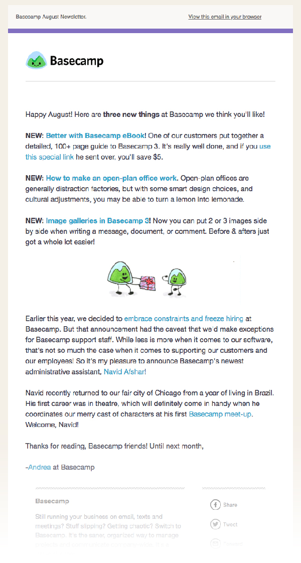 email newsletter text links examples
