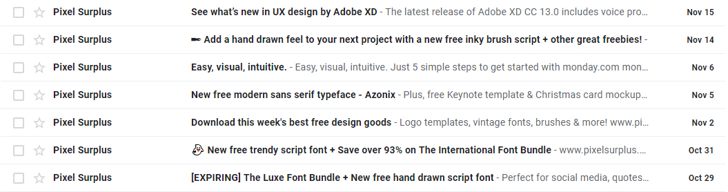 pixel surplus email newsletter subject lines examples