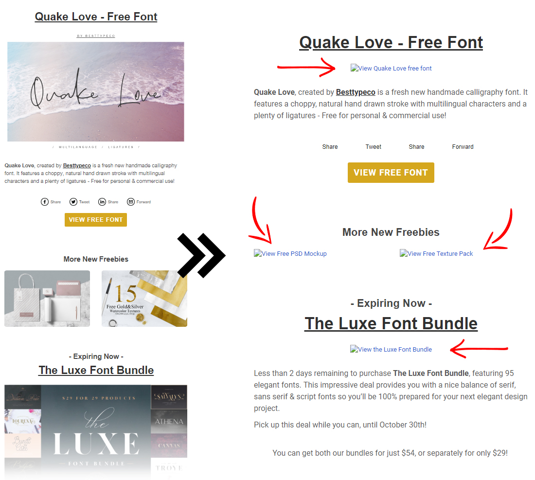 email newsletter example with and without images