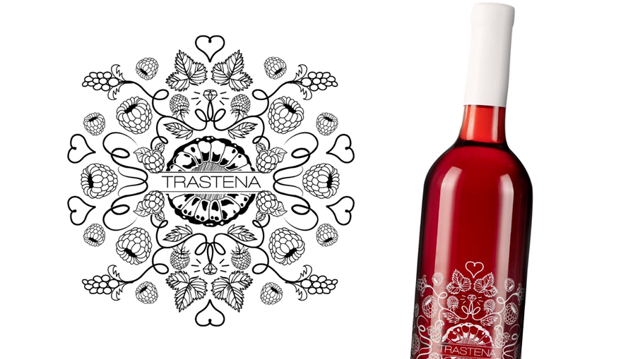Trastena Rose Wine logo design and branding