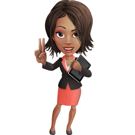 vector business woman cartoon in the color of the year 2019