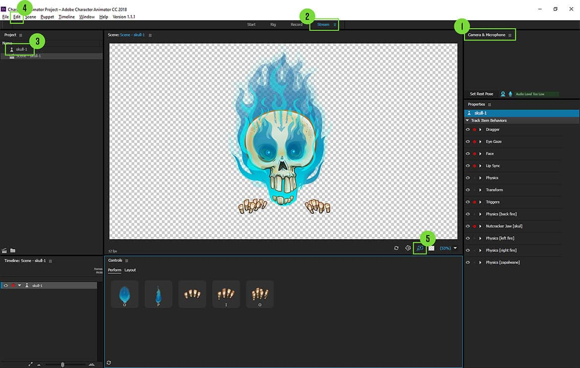 Streaming on Twitch with Adobe Character Animator