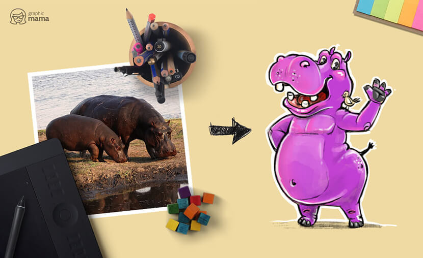 Cartoon Hippo from image to cool cartoon character