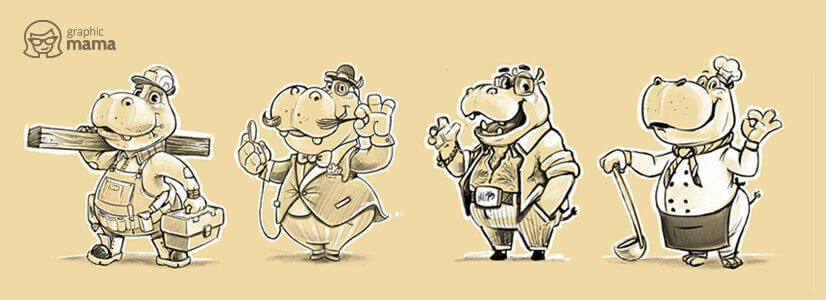 Hippo cartoon characters with different professions