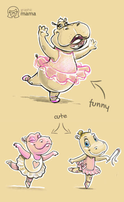 Dancing Hippo Cartoon Character in different styles