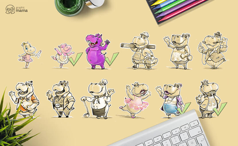 From Sketch to Vector Hippo Cartoon Characters