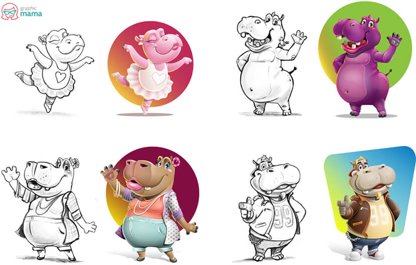 high-quality vector hippo cartoon characters from sketch