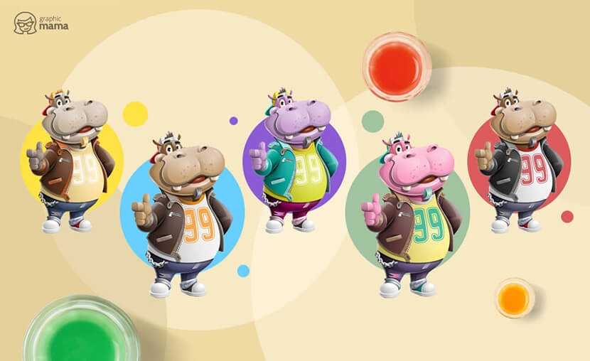 Hippo Dude Cartoon Character in different colors