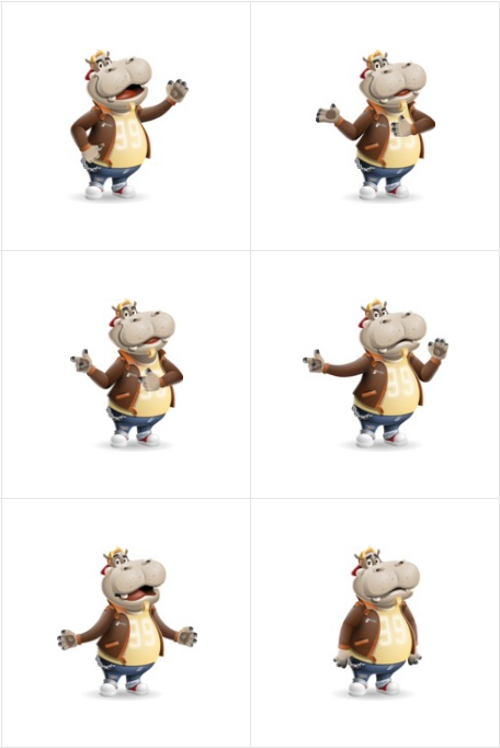 hippo cartoon character emotions