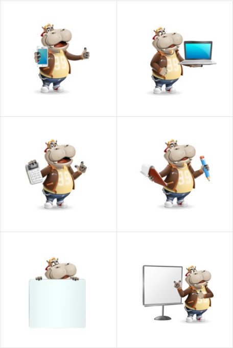 hippo cartoon character conceptual poses